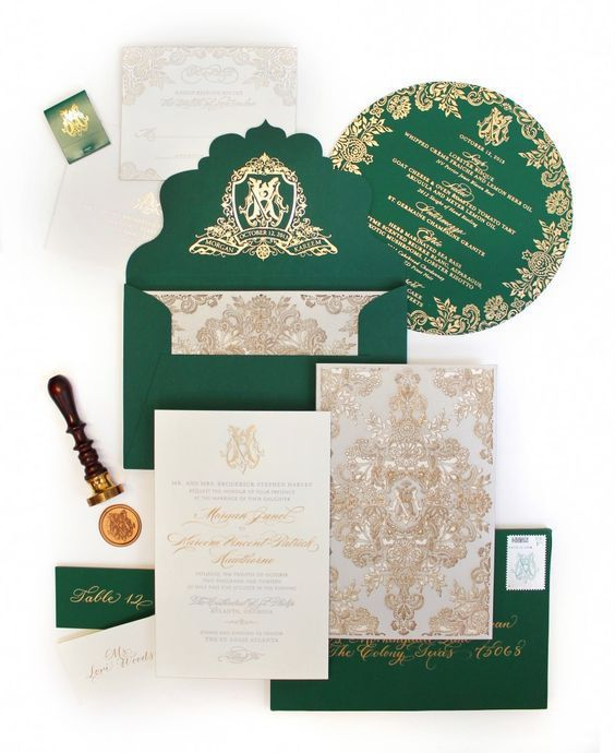 a beautiful emerald and gold wedidng invitation suite with chic prints for a vintage inspired wedding