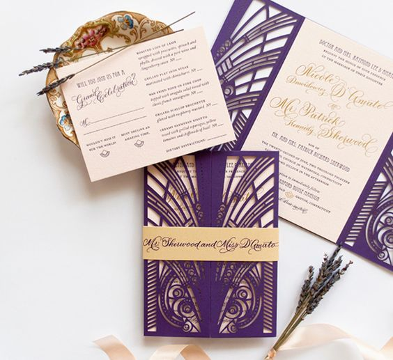bold purple and gold laser cut wedding stationery for a bold wedding