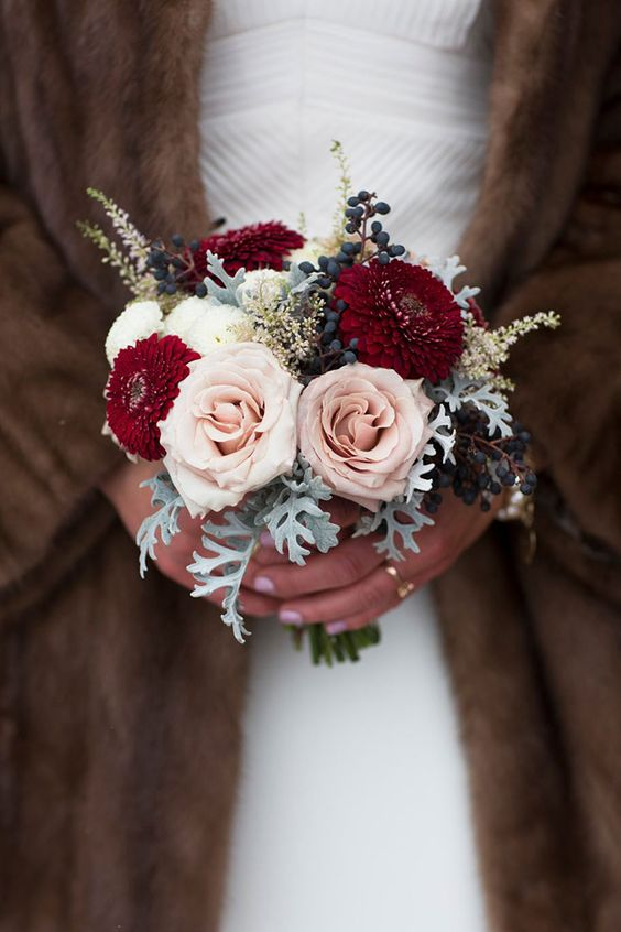 pretty little posy with pale pink roses, burgundy dahlias, privet berries & dusty miller