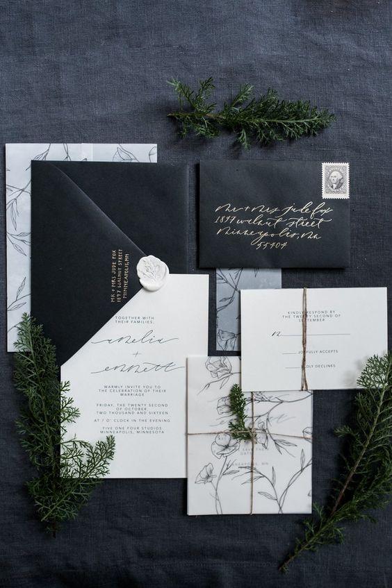 eine black und white Einladung suite mit Kalligraphie und Botanischen Silhouetten für eine moderne organnic Hochzeit