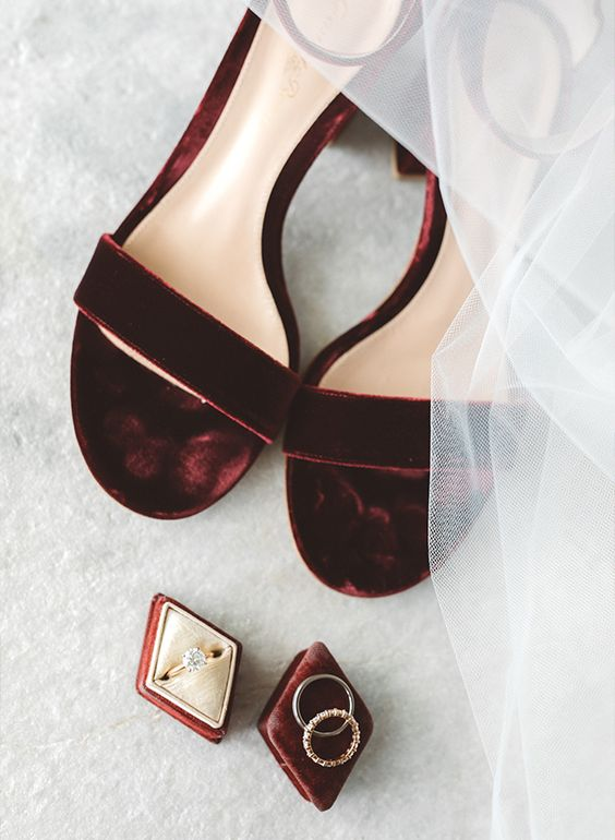 burgundy velvet heeled sandals for a fall or winter bride, a great idea to add a chic touch