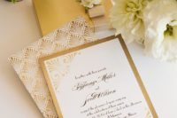 25 chic gold foil and white wedding invitations with art deco prints
