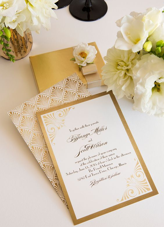 chic gold foil and white wedding invitations with art deco prints