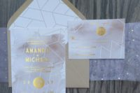 25 geometrical gold foil and blush watercolor wedding invitations for a sweet glam wedding