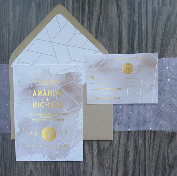 geometrical gold foil and blush watercolor wedding invitations for a sweet glam wedding