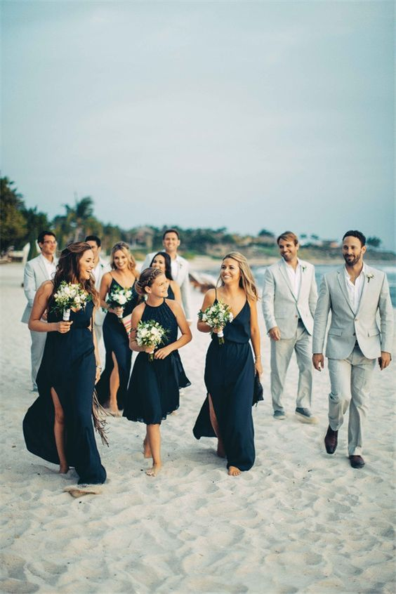 mismatching navy bridesmaids' dresses for every girl to show off her style