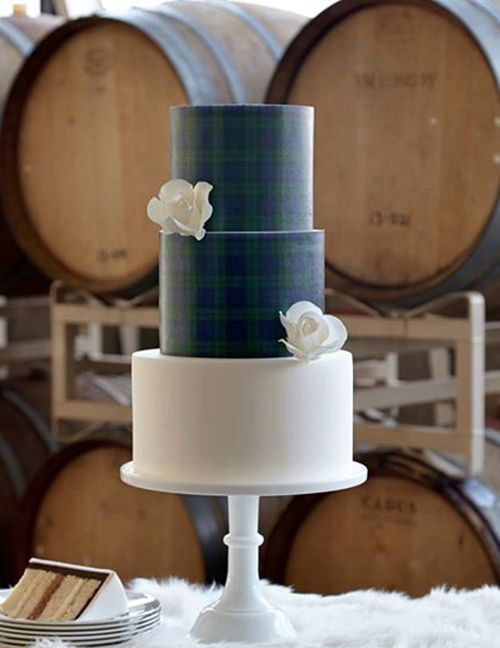an elegant blue and green plaid wedding cake with a white layer for a contrast