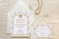 26 elegant neutral wedding invites with art deco printing and soft colors