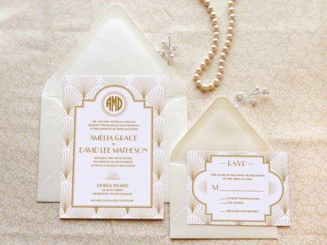 elegant neutral wedding invites with art deco printing and soft colors