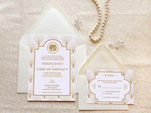 eleganten, neutralen Hochzeit lädt mit art-deco-Druck und soft-Farben