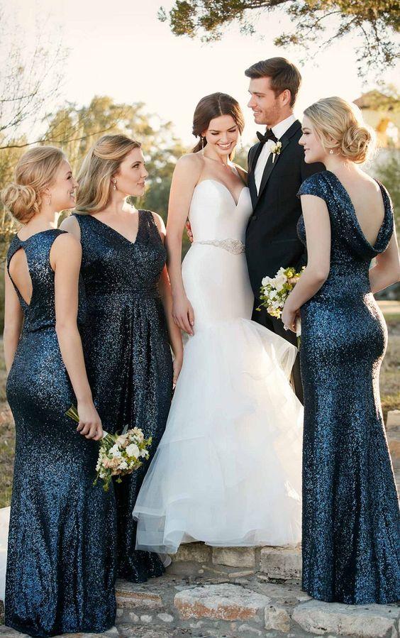 nicht übereinstimmende navy Pailletten Brautjungfern Kleider