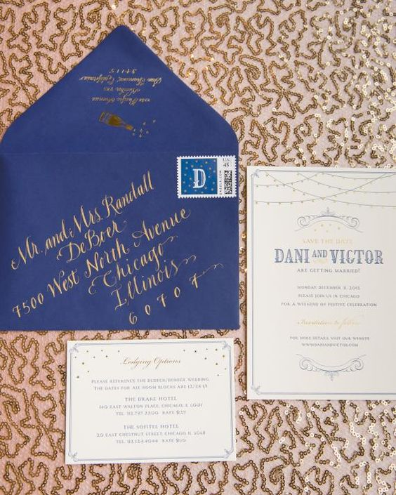 a cobalt blue and copper wedding invitation suite for bold New Year wedding