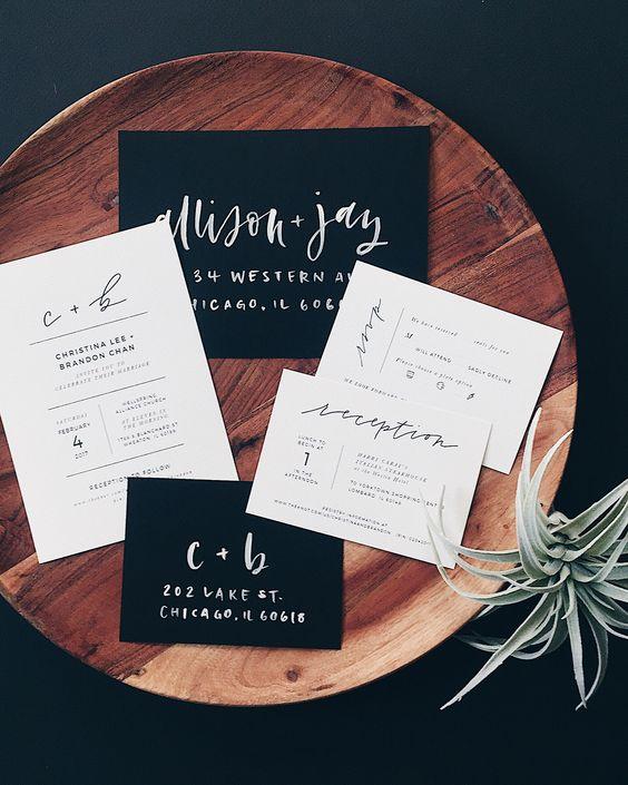 schwarz und weiß wedidng Einladungen mit modernen Buchstaben für minimalistische Hochzeiten