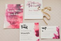 27 bold watercolor pink and fuchsia wedding invitation suite for a modern colorful wedding