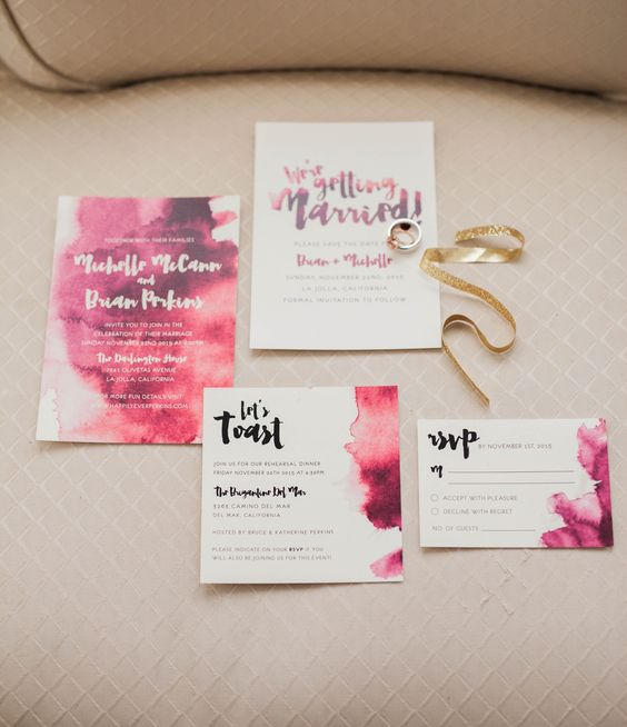 bold watercolor pink and fuchsia wedding invitation suite for a modern colorful wedding