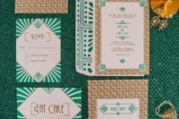 27 emerald and gold foil wedding invitations with various 20s art prints