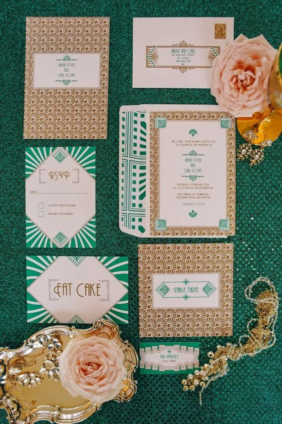 emerald and gold foil wedding invitations with various 20s art prints
