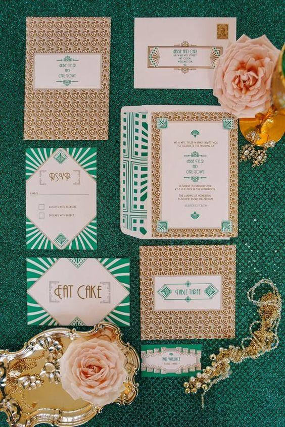 Smaragd-und gold-Folien-Hochzeits-Einladungen mit verschiedenen 20s Kunstdrucke