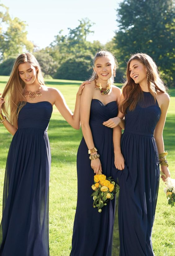 Picture Of Mismatched Midnight Blue Bridesmaids Dresses Look Very Chic