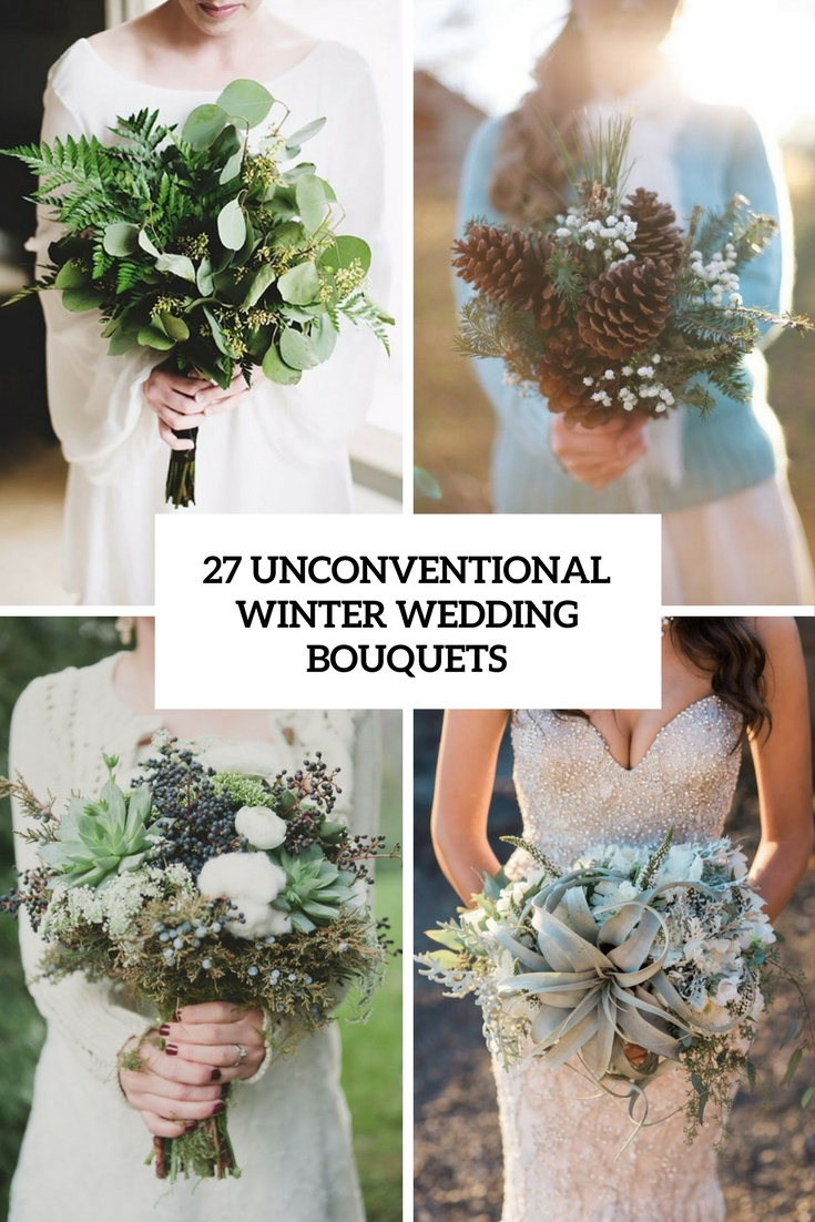 unconventional winter wedidng bouquets cover
