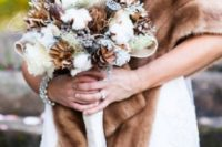 28 brown and white wedding bouquet with white roses, pinecones and cotton
