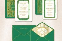 28 emerald and gold wedding invitations with various 20s inspired art prints