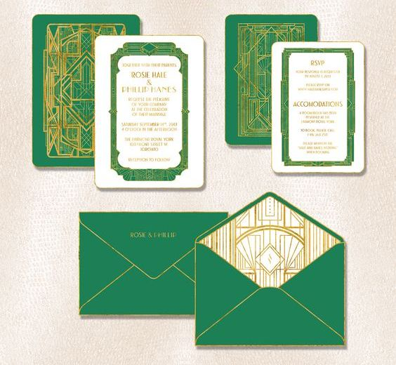 emerald and gold wedding invitations with various 20s inspired art prints