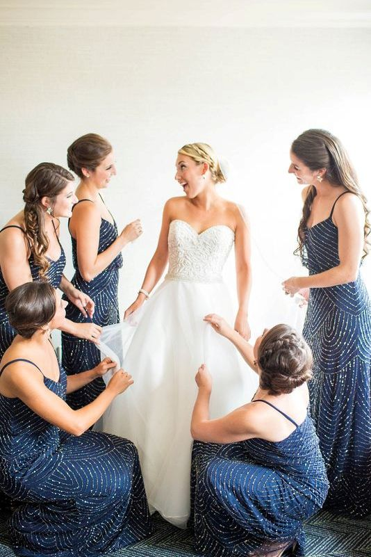 navy spaghetti strap bridesmaids' dresses with silver sequin patterns
