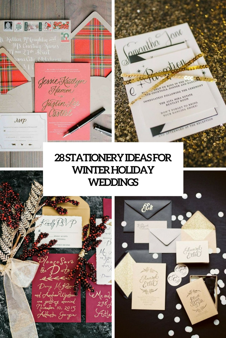 28 Stationery Ideas For Winter Holiday Weddings
