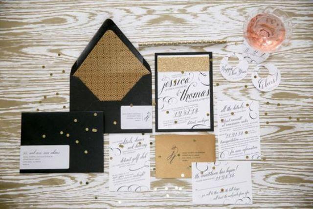 vintage-inspired black, white and gold glam wedding invites