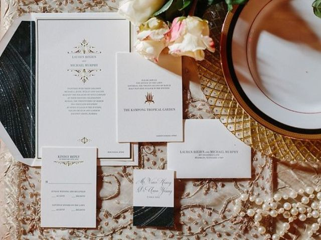 glam black and white New Year wedding invitations with an agate slice print and gold letters