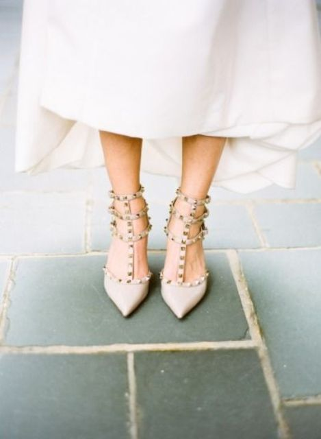 nude spiked strappy heels are a chic and modern idea to wear heels at your wedding