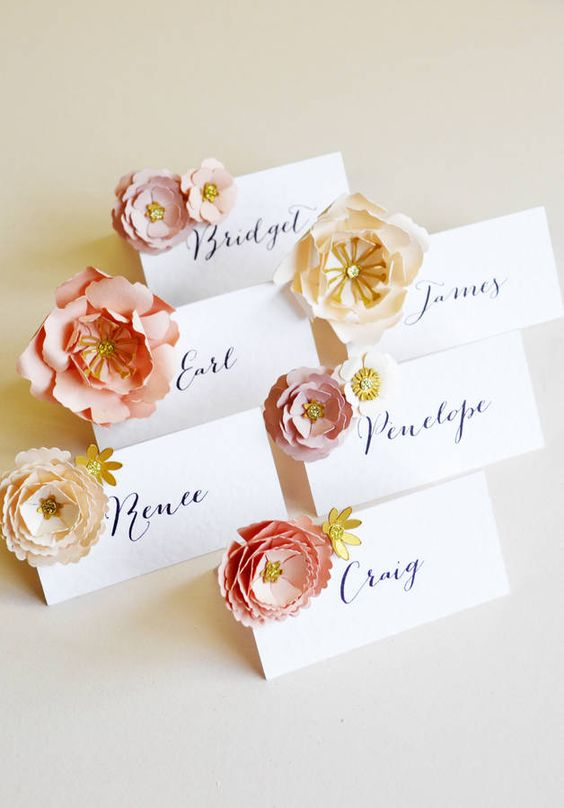 paper flower place cards with calligraphy can be easily DIYed for your wedding