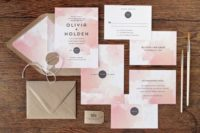 29 pink watercolor wedding invites and kraft paper envelopes for a colorful wedding