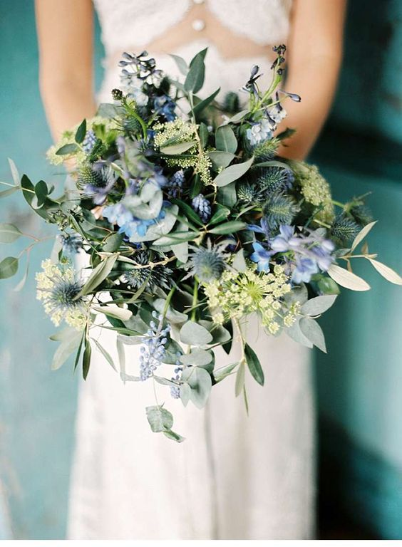 Picture Of Boho Inspired Wedding Bouquet With Thistles