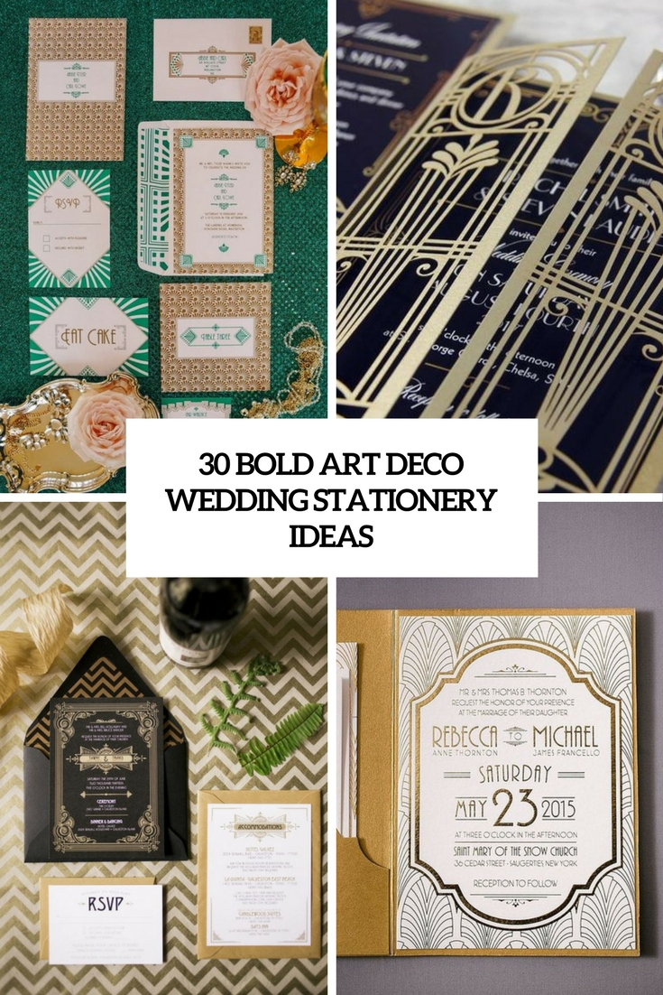 bold art deco wedding stationery ideas cover