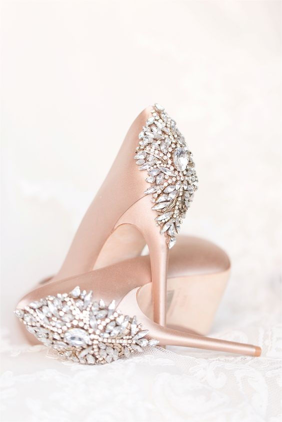 heavily embellished blush wedding heels for a glam winter bride