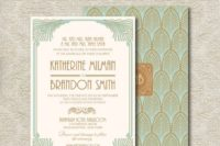 30 mint and brown art deco wedding invitations with peacock feathers and vignettes