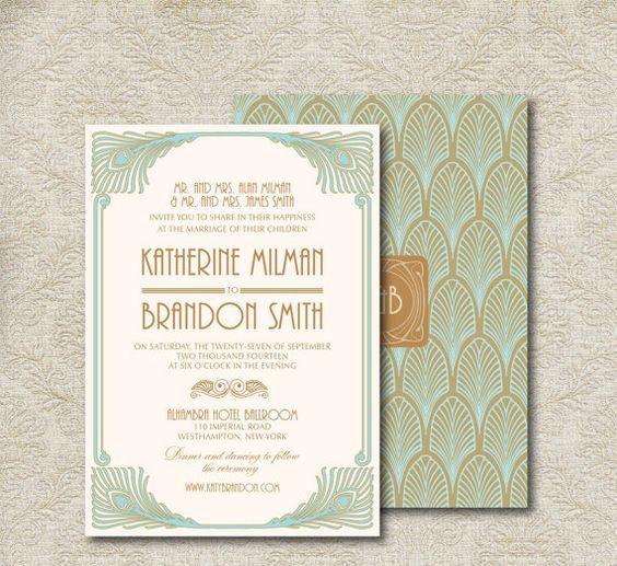 picture of mint and brown art deco wedding invitations with peacock