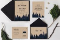 31 forest-inspired wedding invitations in navy and neutrals, will do for a woodsy or mountain wedding with a rustic feel