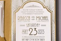 31 printed with gold foil, these gold wedding invitations have a die cut pocket to hold the ticket style response card