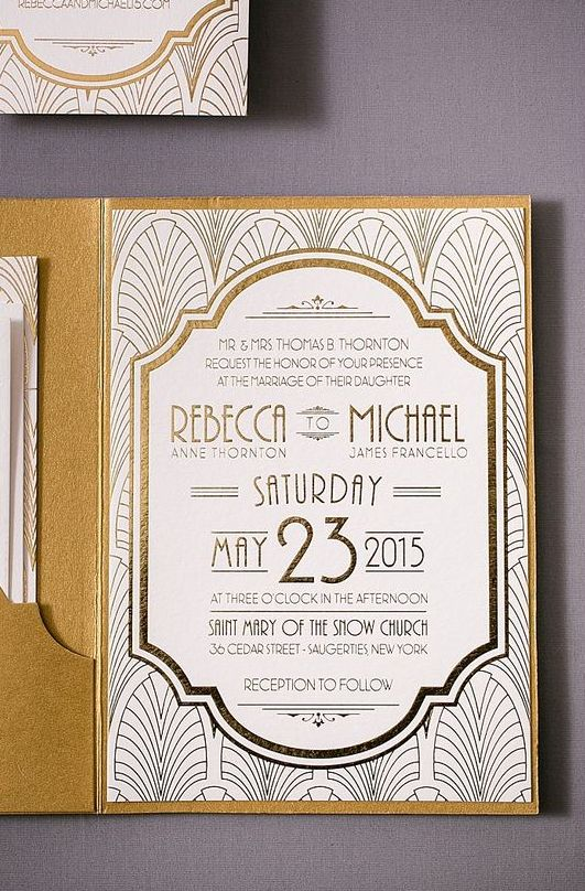 printed with gold foil, these gold wedding invitations have a die cut pocket to hold the ticket style response card
