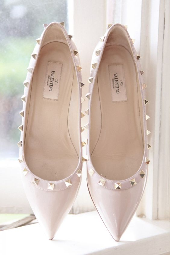 spike neutral Valentino wedding flats look chic and fit not only weddings