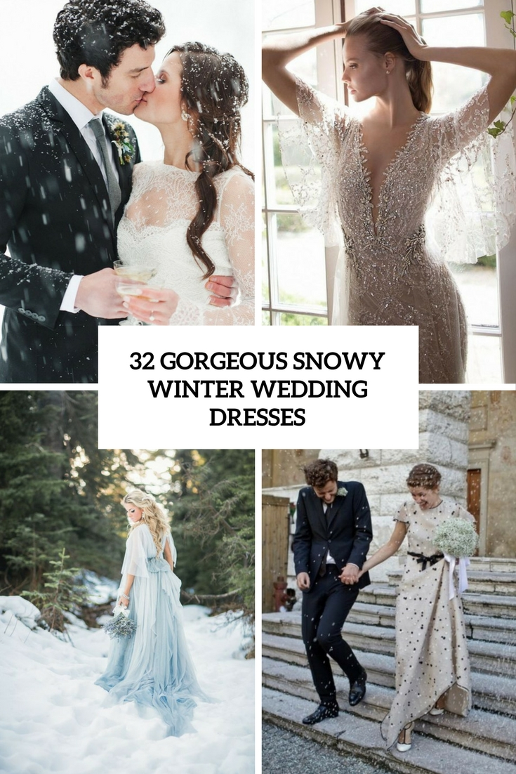 gorgeous snowy winter wedding dresses cover
