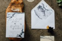 32 watercolor grey marble wedding invites and envelopes for a modern chic wedding