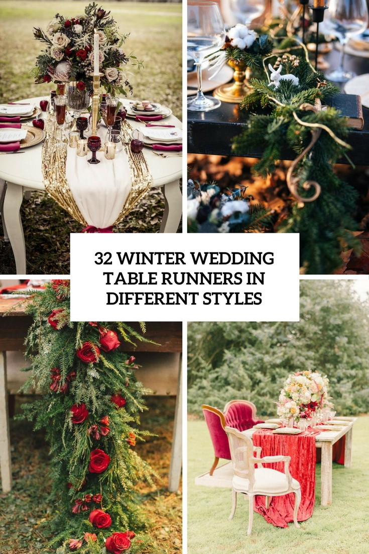 Winter Wedding Table Runners In Different Styles Weddingomania