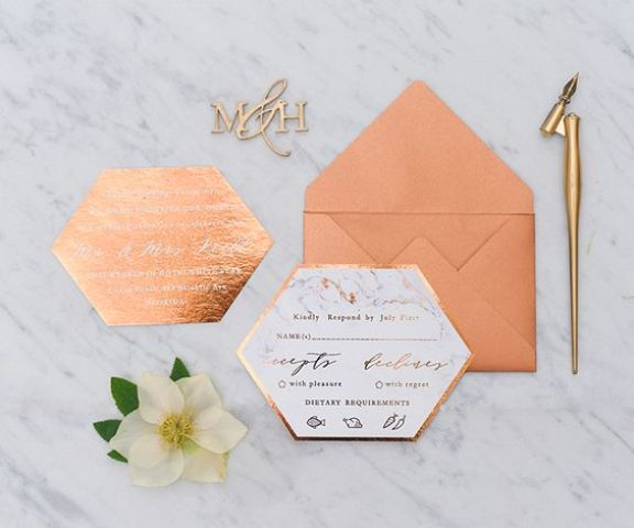 copper foil geometric wedding invitations with calligraphy and a copper foil envelope for a modern wedding with a metallic or glam touch