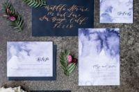 34 black envelopes and watercolor purple wedding invites with calligraphy for a dark-colored wedding