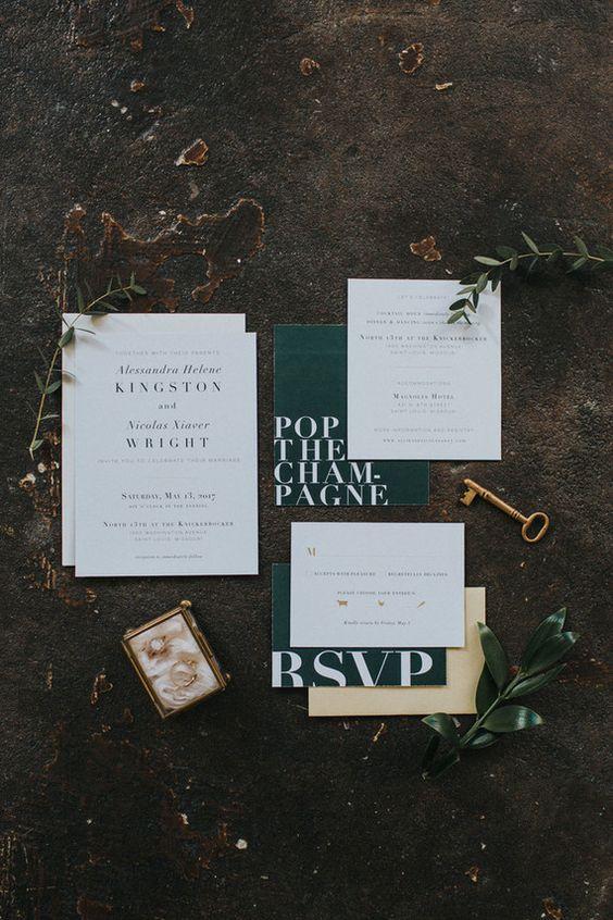 Smaragd und weiße, moderne Hochzeitseinladungen Hinweis auf emerald als einer der Hochzeit Farben