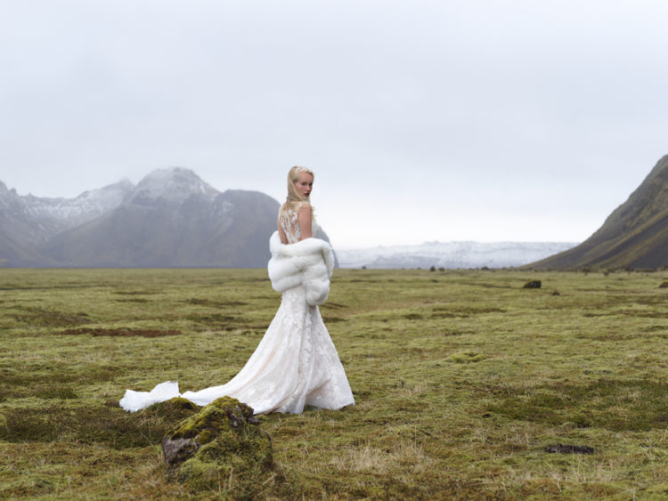 This beautiful wedding dress collection by Allure Bridals was shot in Iceland to make it stand out in the wild nature